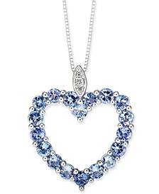 """Tanzanite (1-3/8 ct. t.w.) & Diamond Accent Open Heart 18"""" Pendant Necklace in 14k White Gold"""