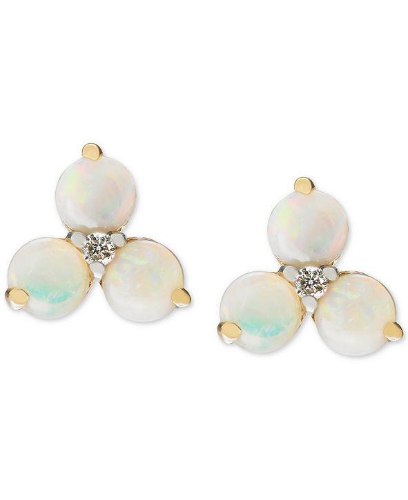 Macy's Opal (1-1/5 ct. t.w.) & Diamond (1/20 ct. t.w.) Cluster Stud Earrings in 14k Gold (Also in Citrine)