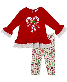Rare Editions Baby Girls 2-Pc. Candy Cane Top & Printed Leggings Set