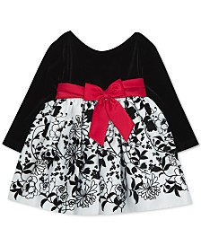 Rare Editions Baby Girls Velvet Flocked-Skirt Dress