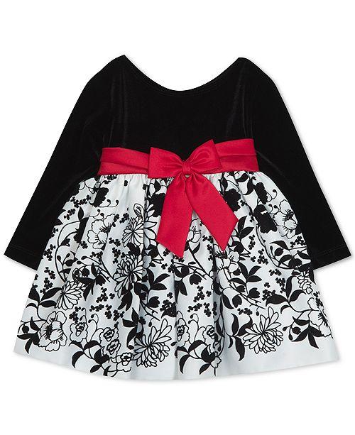 Rare Editions Baby Girls Velvet Flocked-Skirt Dress