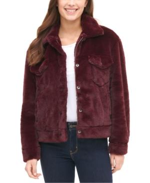 Levi's Women's Faux Fur Trucker Jacket In Burgundy