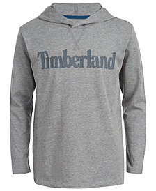 Timberland Big Boys Barnstead Gray Heather Hooded Logo T-Shirt