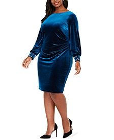 Plus Size Velvet Sheath Dress
