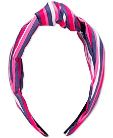 Pink Stripe Top Knot Hard Headband