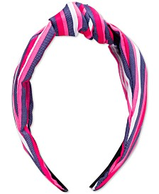 twelveNYC Pink Stripe Top Knot Hard Headband