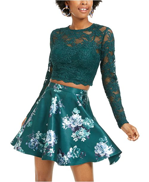 City Studios Juniors' 2-Pc. Lace Top & Floral-Print Skirt