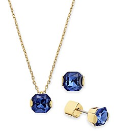 "Gold-Tone Princess-Cut Cubic Zirconia Pendant Necklace & Stud Earrings Set, 16"" + 3"" extender"