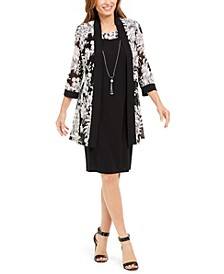 Petite Necklace Dress & Puff-Print Jacket
