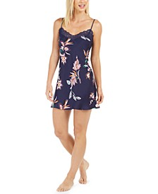 Floral-Print Cosmos Satin Chemise Nightgown