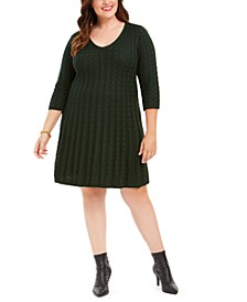 Plus Size Cable-Knit Sweater Dress