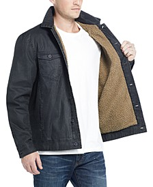 Men's Waxed Sherpa Lined Trucker Jacket
