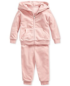 Polo Ralph Lauren Baby Girls Velour Hoodie & Pants