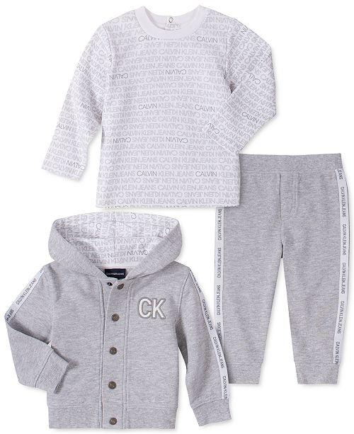 Calvin Klein Baby Boys 3-Pc. Logo Shirt, Pants & Hoodie Jacket Set