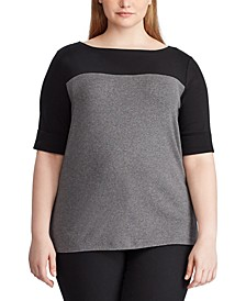 Plus Size Contrasting-Panel Cotton-Blend T-Shirt