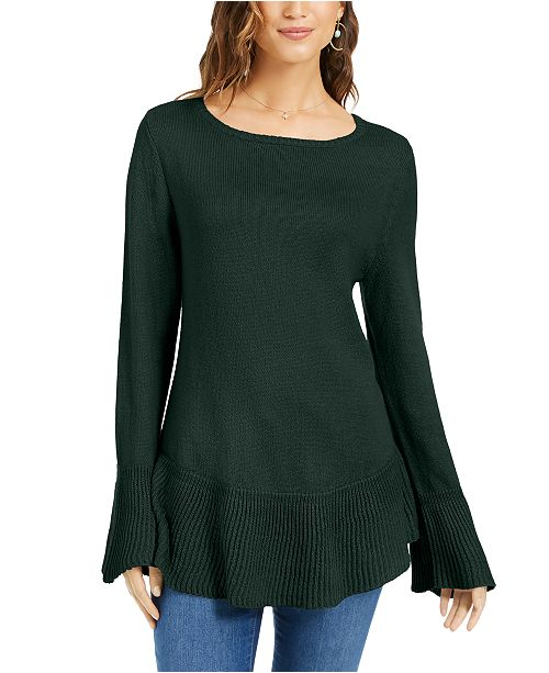 Style & Co Ruffle Hem Knit Sweater, Created For Macy's