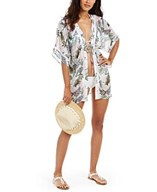 Juniors' Leaf Printed Tie-Front Kimono Cover-Up, Created for Macy's