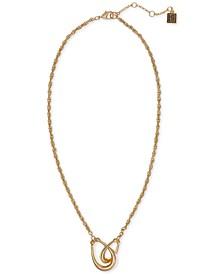 "Gold-Tone Interlocking Teardrop Ring Pendant Necklace, 16"" + 2"" extender"