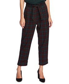 Vince Camuto Plaid Belted Pants