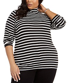 Plus Size Striped Mock-Neck Top, Created For Macy's