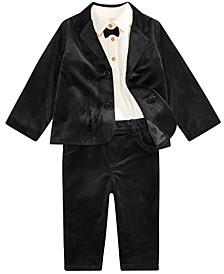 Baby Boys Tuxedo Bodysuit, Velvet Blazer & Velvet Pants, Created For Macy's