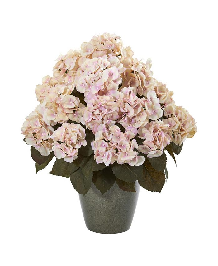 """Nearly Natural - 23"""" Fall Hydrangea Artificial Plant in Green Planter"""