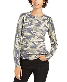 Juniors' Camo Crew Neck Sweater
