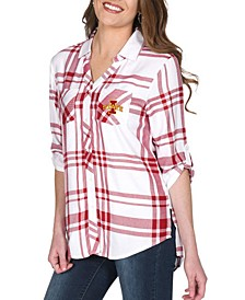 UG Apparel Women's Iowa State Cyclones Satin Weave Plaid Button Up Shirt