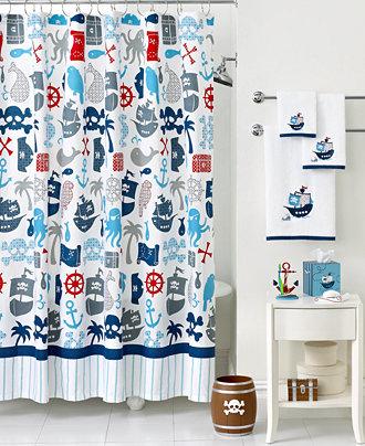 Kassatex bath accessories pirates shower curtain for Pirate bathroom accessories