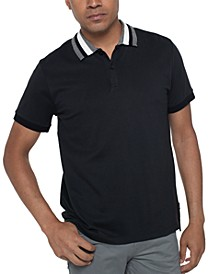 Men's Striped-Collar Polo