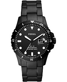 Fossil Men's Blue Dive Black Stainless Steel Bracelet Watch 42mm