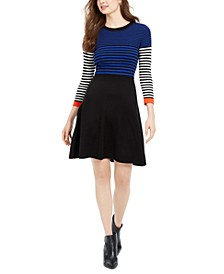 Petite Mixed-Striped Sweater Dress