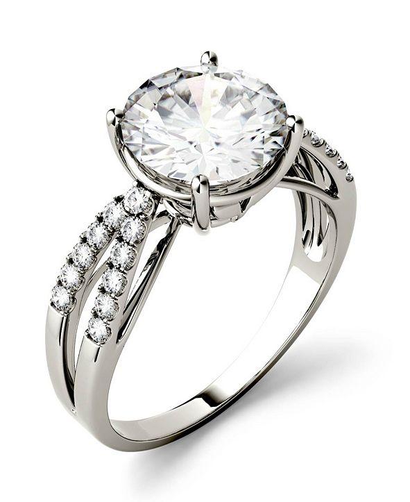 Charles & Colvard Moissanite Split Shank Ring 2-9/10 ct. t.w. Diamond Equivalent in 14k White Gold or 14k Yellow Gold