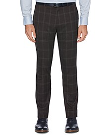 Portfolio Men's Extra Slim-Fit Stretch Large Windowpane Dress Pants