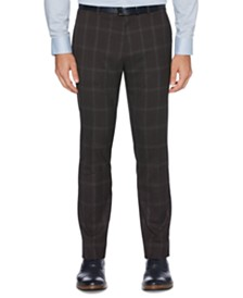 Perry Ellis Portfolio Men's Extra Slim-Fit Stretch Large Windowpane Dress Pants