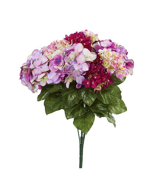 """Nearly Natural 19"""" Hydrangea Artificial Plant, Set of 3"""