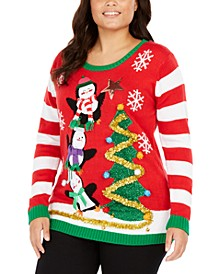 Trendy Plus Size Embellished Holiday Penguins Sweater