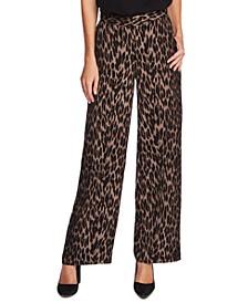 Animal Phrases Leopard Print Wide-Leg Pants