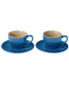 Set of 2 Cappuccino Cups and Saucers