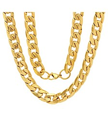 "Men's 18k gold Plated Stainless Steel Accented 6mm Cuban Chain 24"" Necklaces"