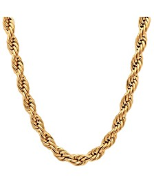 "Men's 18k gold Plated Stainless Steel Rope Chain 24"" Necklace"