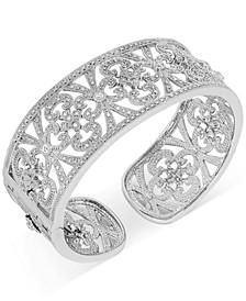 Diamond Filigree Openwork Cuff Bracelet (1/2 ct. t.w.) in Sterling Silver