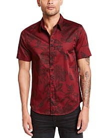 Men's Luxe Baroque Floral Pattern Short Sleeve Shirt