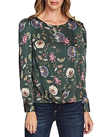 Floral-Print Puffy-Sleeve Blouse