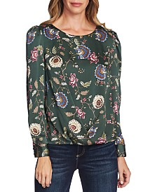 Vince Camuto Floral-Print Puffy-Sleeve Blouse