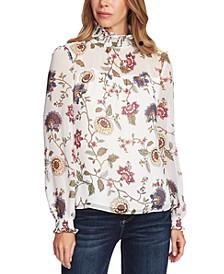 Floral-Print Smocked Top