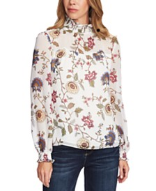Vince Camuto Floral-Print Smocked Top