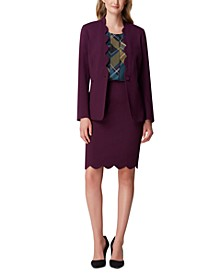 Scalloped-Edge Blazer & Pencil Skirt