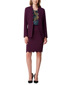 Tahari ASL Scalloped-Edge Blazer & Pencil Skirt