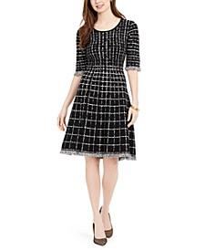 Plaid Fringe-Trim Sweater Dress